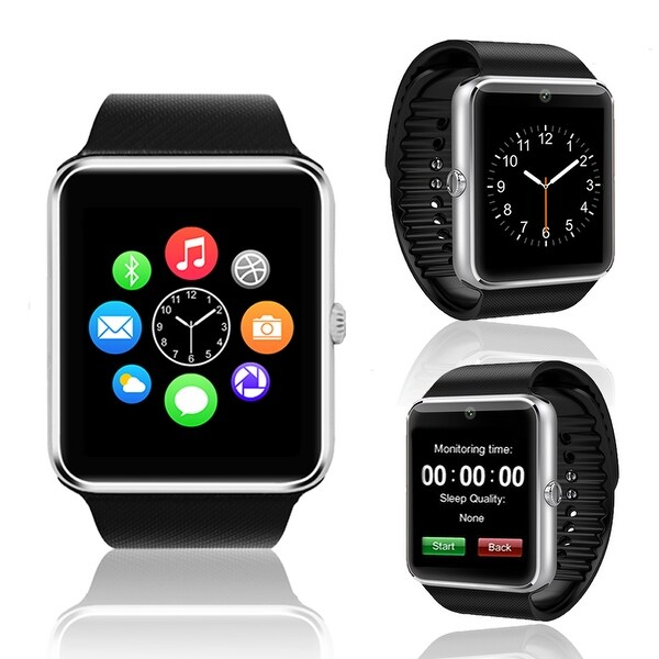 Indigi® (Silver) GT8 Unlocked 2-in-1 SmartWatch & Phone - Bluetooth Sync w/ Pedometer + Built-in Camera + SIM Slot - Silver