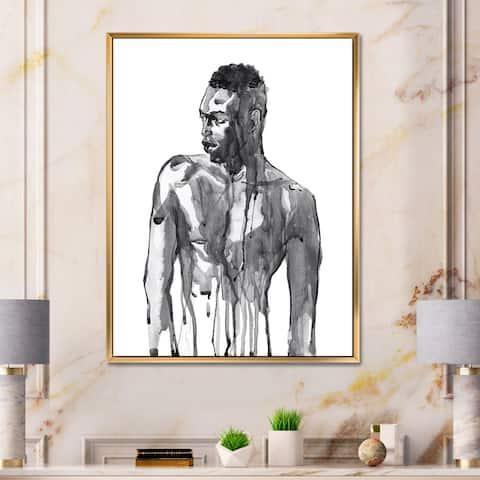 Designart 'Handsome African Man Portrait on White I' Modern Framed Canvas Wall Art Print