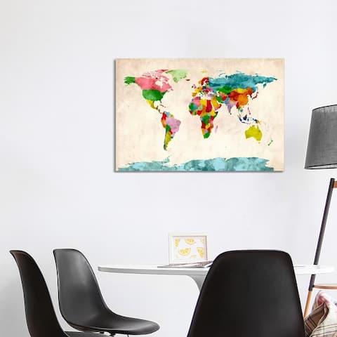 "iCanvas ""World Map Watercolors III"" by Michael Tompsett Canvas Print"