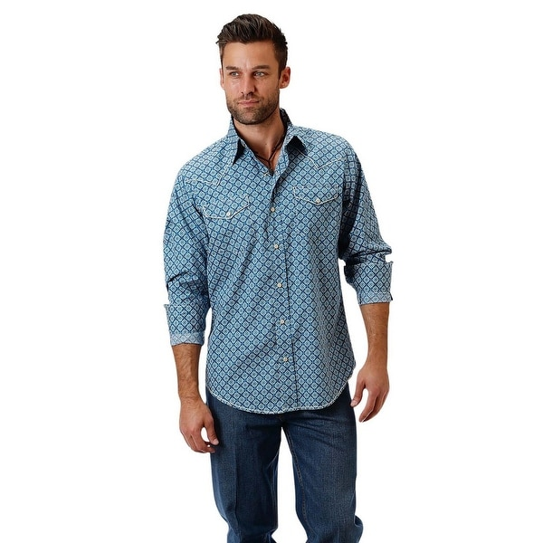 b7e84e9beb Shop Roper Western Shirts Mens L S Print Snap Blue - Free Shipping On  Orders Over  45 - Overstock.com - 17615896