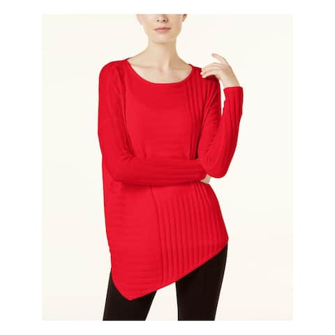 INC Womens Red Long Sleeve Jewel Neck Hi-Lo Top Size S