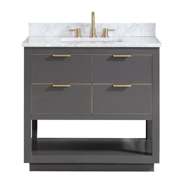 "Avanity ALLIE-VS37 Allie 37"" Free Standing Single Vanity Set with Wood Cabinet, Marble Vanity Top and Vitreous China Undermount"