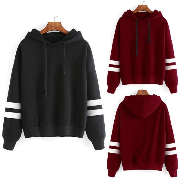 Women's Long Sleeve Hoodie Hooded Sweatshirt Striped Pullover Soft Top Coat