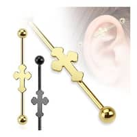 Medieval Cross Ion Plated Over 316L Surgical Steel Industrial Barbell (Sold Individually)