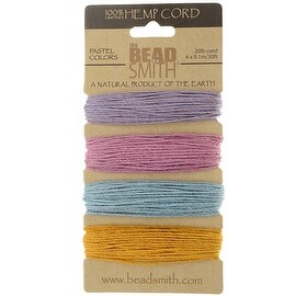 Beadsmith Natural Hemp Twine Bead Cord 1mm Four Pastel Color Variety 30 Feet Each