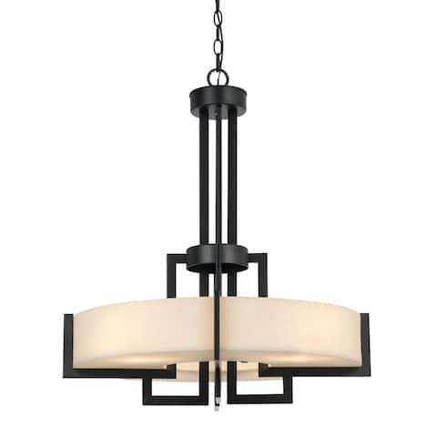 4 Bulb Pendant with Metal Frame and Resin Body, Black and Beige
