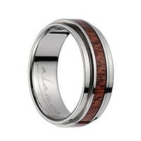 Titanium Polished Wedding Band With Pink Ivory Inlay & Stepped Edges - 8mm