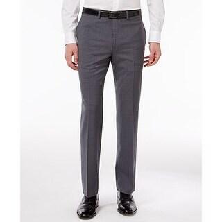 Calvin Klein Men's Extra Slim-Fit Gray Plaid Dress Pants 34X34