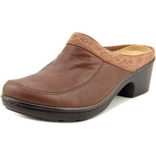 Easy Spirit Lugano Women Round Toe Leather Brown Mules