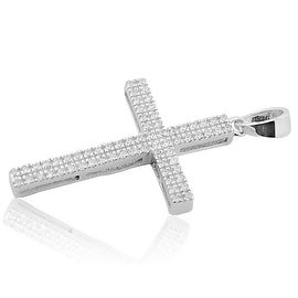 Mens 2 Row Cross Pendant With CZ Stelring Silver 31mm Tall Small Cross Charm By MidwestJewellery