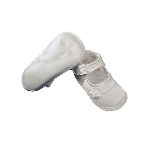 Baby Girls White Satin Celtic Cross Rosette Christening Shoes