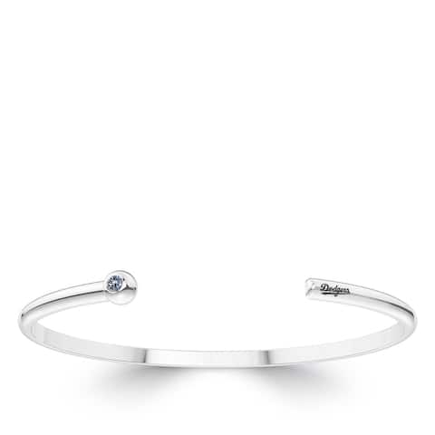 Los Angeles Dodgers Engraved Sterling Silver White Sapphire Cuff Bracelet