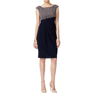 Connected Apparel Womens Casual Dress Cap Sleeves Knee-Length