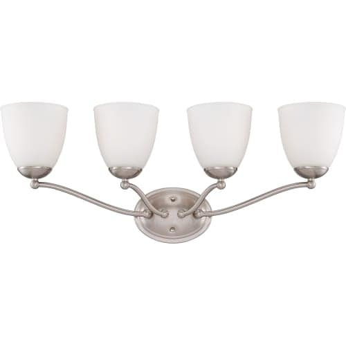 Nuvo Lighting 60/5054 Patton ES Four-Light Bathroom Fixture with Frosted Glass Shades