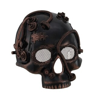 Steampunk Skull Half Mask w/Tubes Gears & Mesh Covered Eyes (3 options available)