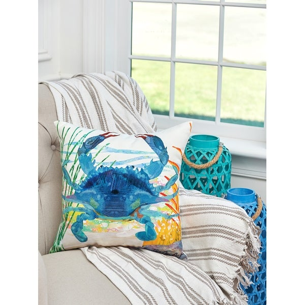 Blue Crab Coastal Indoor/Outdoor 18x18 Decorative Accent Throw Pillow. Opens flyout.