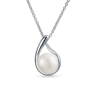 Bling Jewelry .925 Sterling Silver Bridal Freshwater Cultured Pearl Teardrop 9mm Necklace - White
