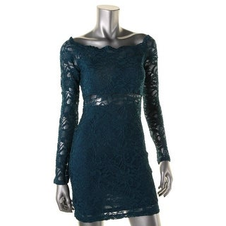 Jump Apparel Womens Juniors Lace Illusion Party Dress