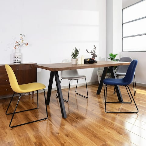Fabric Dining Chair In Black Sled Legs(Set Of 4)