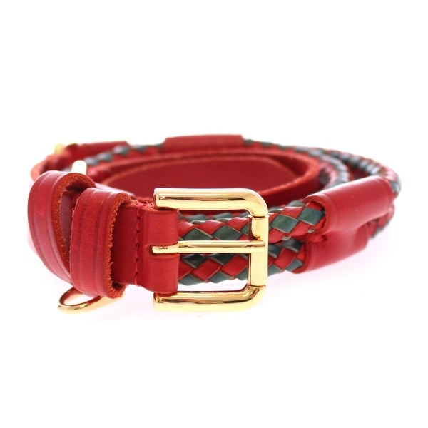 Dolce & Gabbana Red Leather Logo Gold Buckle Belt