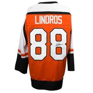 Eric Lindros Signed Custom Orange Pro Style Hockey Jersey JSA