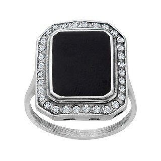 Van Kempen Art Deco Ring with Swarovski Crystals in Sterling Silver - White