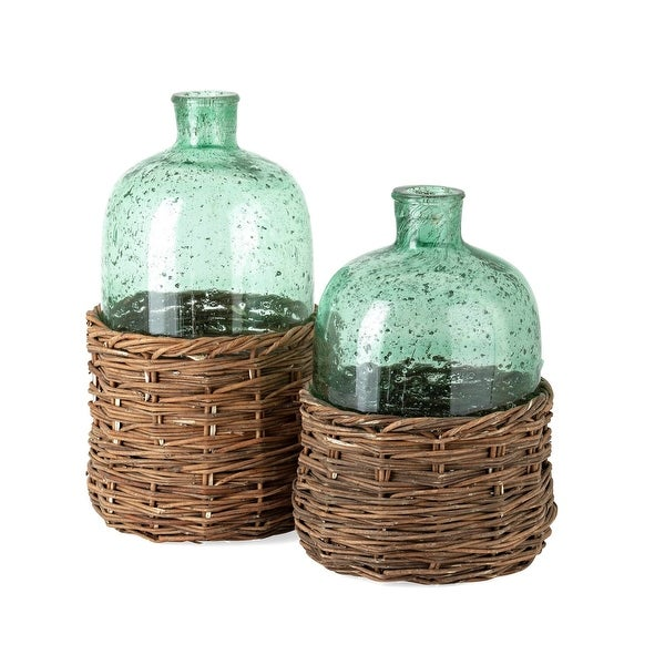 "12.5"" Rikard Short Green Glass Bottle Including Bamboo - N/A"