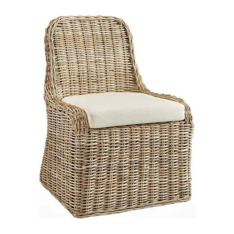 Saint Tropez Woven Kubu Rattan Accent Chair with Padded Seat