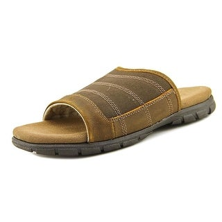 Crevo Calderon Men  Open Toe Leather Brown Slides Sandal