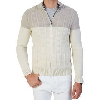 Nautica NEW White Ivory Beige Mens Size XL Ribbed Full Zip Sweater