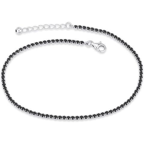 NYC Sterling Women Sterling Silver Cubic Zirconia Anklet Bracelet