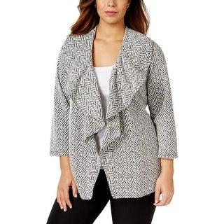 Calvin Klein Womens Plus Soft Shell Jacket Printed Ruffled