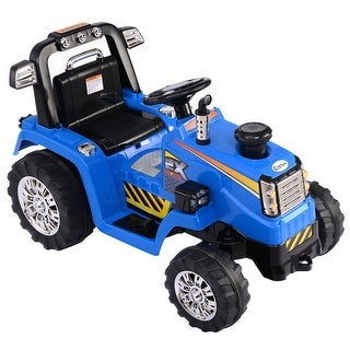 Costway 12V Battery Powered Kids Ride On Tractor Electric Toys w/ MP3 LED Lights Blue
