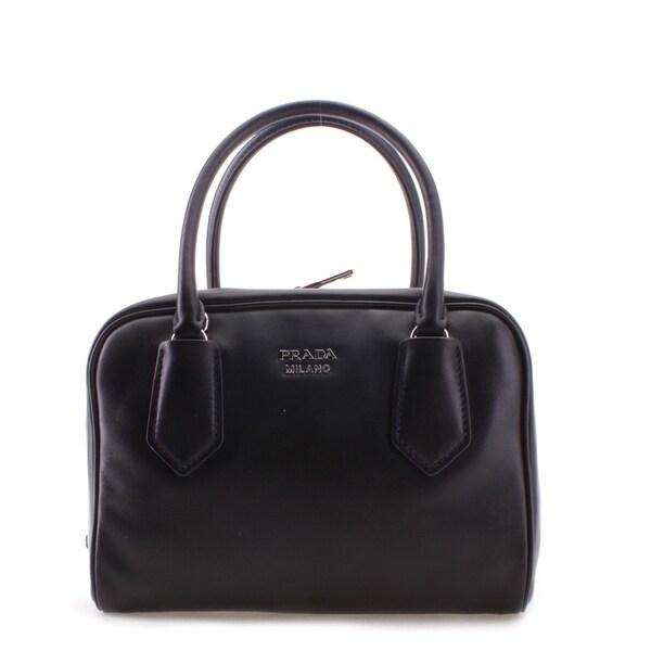 Prada Soft Calf Leather Inside Bag Tote Handbag - Black - M