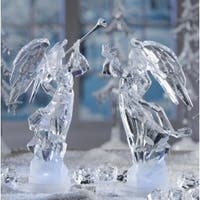 "Pack of 2 Icy Crystal Illuminated Angel Ice Sculpture Figurines 11"" - CLEAR"