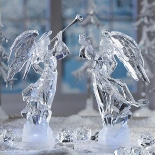 Pack of 2 Icy Crystal Illuminated Angel Ice Sculpture Figurines 11""