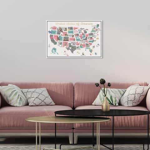 Oliver Gal 'Fun Pastel Map' Maps and Flags Wall Art Framed Canvas Print American Countries Maps - Pink, Gold