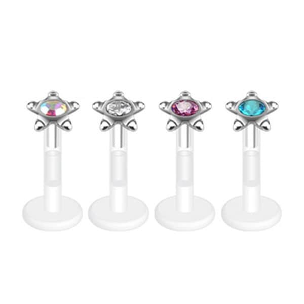 "Star Stud Round Press-Fit CZ Gem Bio-Flex Shaft Labret Monroe - 16GA 5/16"" Long (3mm Ball) (Sold Ind.)"