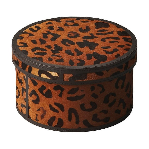 "Offex Nikita Leather Round Storage Box - 5.5""H"