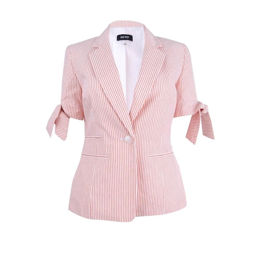Shop Nine West Women S Tie Cuff Striped Seersucker Blazer On
