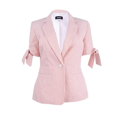 Nine West Women's Tie-Cuff Striped Seersucker Blazer
