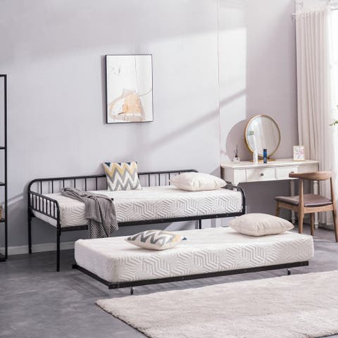 Daybed and Trundle with Metal Frame Twin Size Brushed Bronze