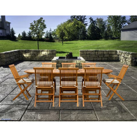 Chic Teak 9 Piece Teak Wood Miami Patio Dining Set with Oval Extension Table, 2 Folding Arm Chairs and 6 Folding Side Chairs