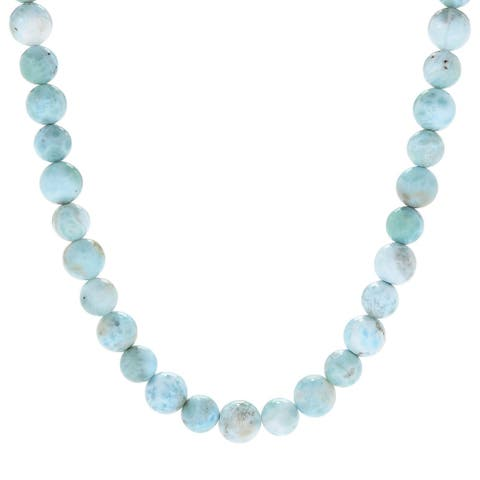 925 Sterling Silver Larimar Beads Necklace
