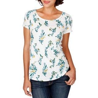 Lucky Brand Womens T-Shirt Linen Floral Print