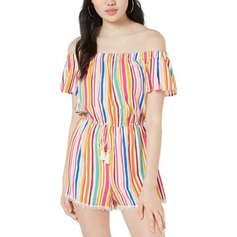 Be Bop Womens Juniors Romper Off-The-Shoulder Striped - Fuschia/Multi