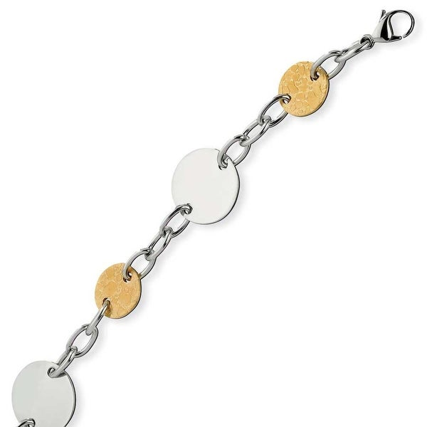 Chisel Stainless Steel Gold IP Plated Circle Bracelet