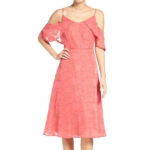 CECE Pink Womens Size 8 Liv Floral Cold Shoulder A-Line Dress