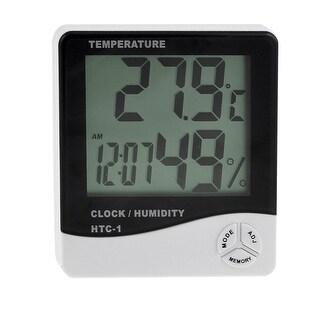 Unique Bargains HTC-1 Alarm Clock Multi Function Black White Digital LCD Thermo-Hygrometer
