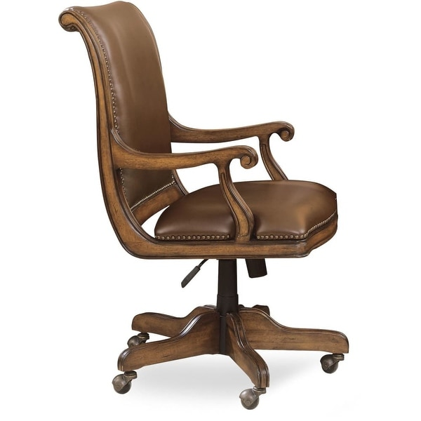Furniture 281 30 220 Cherry Wood And Leather Office Chair From The Brookhaven